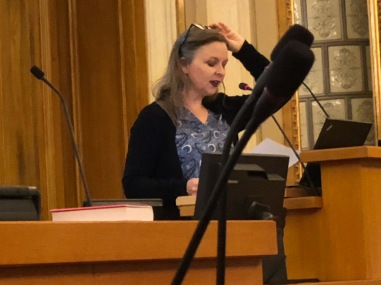 Kirjailija Anna Kortelainen kertoo kirjastaan Hyvä Sara Turun Kokoomusnaisten järjestämässä tilaisuudessa kaupunginvaltuustosta